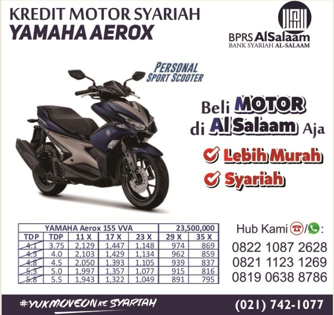 brosur simulasi pricelist kredit motor syariah yamaha Aerox bprs alsalaam
