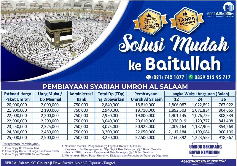 pembiayaan pinjaman syariah umroh umrah bprs alsalaam halal