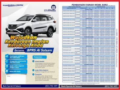 Brosur Pembiayaan Kredit Syariah Mobil Baru BPRS AlSalaam